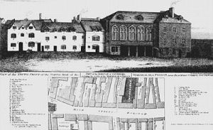 Marshalsea, as it was in 1773. Charles Dickens later wrote about it in Little Dorrit; his family had stayed there. (Courtesy Wikimedia Commons.)