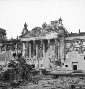 The Reichstag, or German parliament, after a bombing raid. (Courtesy Wikimedia Commons.)
