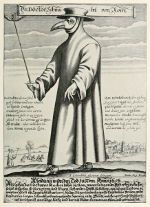 Paul Fürst, engraving, c. 1721, of a plague doctor of Marseilles. His nose-case is filled with smoking material to keep off the plague.