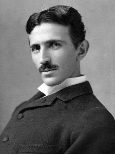 Nikola Tesla, age 34, in 1890, from a postcard by Napoleon Sarony. (Courtesy Wikimedia Commons)