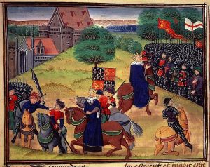 The death of Wat Tyler, who led a peasant revolt in 1381. Richard II is the crowned horseman addressing the crowd. (Library Royal MS 18.E.i-ii f. 175; courtesy Wikimedia Commons)