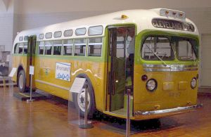 The National City Lines bus on which Rosa Parks was arrested during the Montgomery bus boycott. (Henry Ford Museum, courtesy Wikimedia Commons)