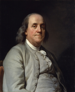 Portrait of Benjamin Franklin/i>, by Joseph-Siffrein Duplessis, ca. 1785, National Portrait Gallery, Washington, D.C. (Courtesy Wikimedia Commons)