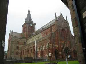 St. Magnus Cathedral, Kirkwall, Orkneys (Courtesy Wikimedia Commons; public domain in the US).