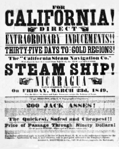 An 1849 advertisement for passage to the gold fields. (Courtesy Shmoop; public domain).