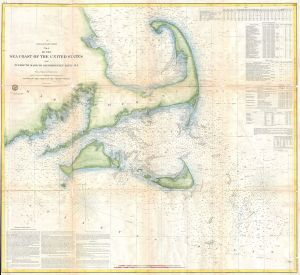 U. S. Coast Survey chart including Nantucket, 1857 (Courtesy Wikimedia Commons).