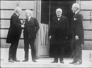 Lloyd George of Great Britain, Vittorio Orlando of Italy, Georges Clemenceau of France, and President Woodrow Wilson, in Paris, 1919 (Courtesy Library of Congress).