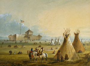 Alfred Jacob Miller's painting, from memory, of Fort Laramie, Wyoming, before 1840 (Courtesy Wikimedia Commons).