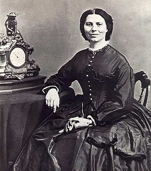 Clara Barton, founder of the American Red Cross (and the most famous Civil War nurse), around 1866 (Courtesy Wikimedia Commons).
