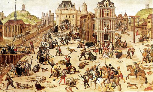 St. Bartholomew Massacre of Protestants, 1572, as reconstructed by Francois Dubois, a Protestant painter. (Courtesy Wikimedia Commons; public domain).
