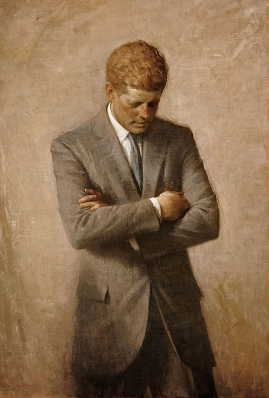 Aaron Shikler's posthumous official portrait of JFK, 1970 (Wikimedia Commons via White House Historical Association, public domain)