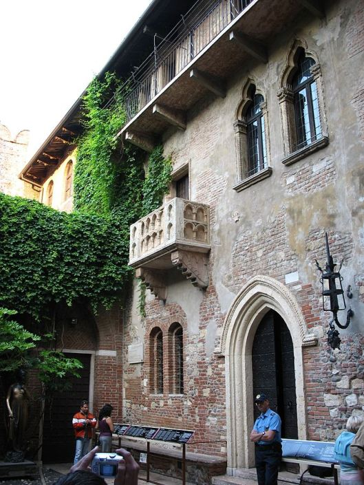 According to legend, this balcony was where Juliet entranced Romeo (Courtesy Wikimedia Commons, undated)