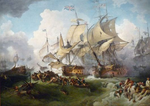 Philippe-Jacques de Loutherbourg's 1795 rendering of Lord Howe's victory the previous year at the Glorious First of June, during the French Revolutionary Wars (Courtesy Wikiwand)