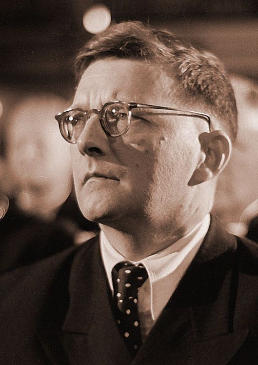Dmitri Shostakovich, 1950 (Courtesy Roger & Renate Rössing, Deutsche Fotothek, retouched, via Wikimedia Commons).