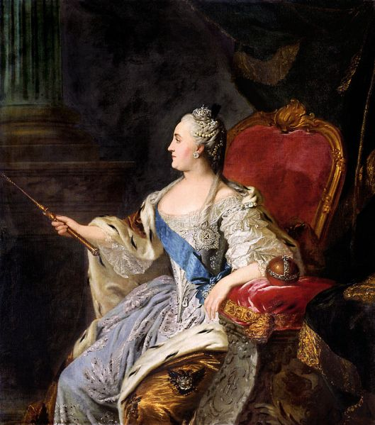 Fedor Rokotov's portrait of Empress Catherine the Great, 1763, now in the Tretyakov Gallery, Moscow (Courtesy Wikimedia Commons; public domain in the United States)