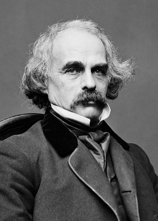 Matthew Brady's photograph of Nathaniel Hawthorne, taken during the 1860s, not long before the author's death (Courtesy Library of Congress, via Wikimedia Commons)