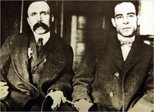 Bartolomeo Vanzetti, left, and Nicola Sacco, 1923 (Courtesy Wikimedia Commons via Boston Public Library)