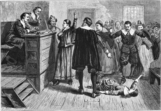 Unattributed illustration from 1876 depicting the Salem trials (courtesy Wikimedia Commons, public domain)