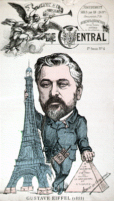 Newspaper caricature of Gustave Eiffel, reflecting the storm of criticism for having compared his as-yet unbuillt structure to the pyramids (Le Temps, February 14, 1887; courtesy Wikimedia Commons)
