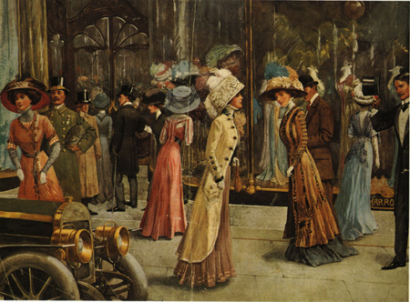 A fashion plate from 1909 shows well-dressed ladies in front of Harrod's (Courtesy Wikimedia Commons; public domain in the United States)
