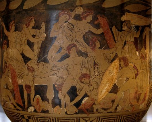 Slaughter of Penelope's suitors by Odysseus, Telemachus, and Eumeus, ca. 330 BCE (Courtesy Louvre, via Wikimedia Commons)